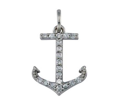 Petite 14K Diamond Anchor Pendant 1/10 ct
