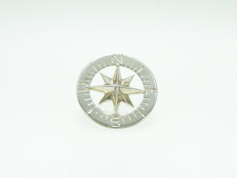 "Compass Rose Classic 3/4"" Tie Tack Sterling Silver"