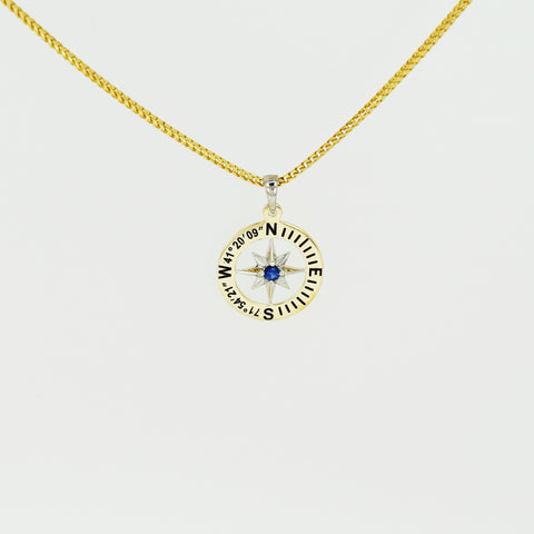 "Compass Rose Classic Women's 3/4"" 14K Two-Tone Gold Pendant With Stonington, CT Coordinates"