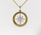 Compass Rose 14k two-toned gold pendant