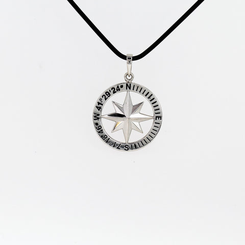 Compass Rose Classic Men's Grande Sterling Silver Pendant With Newport, RI Coordinates