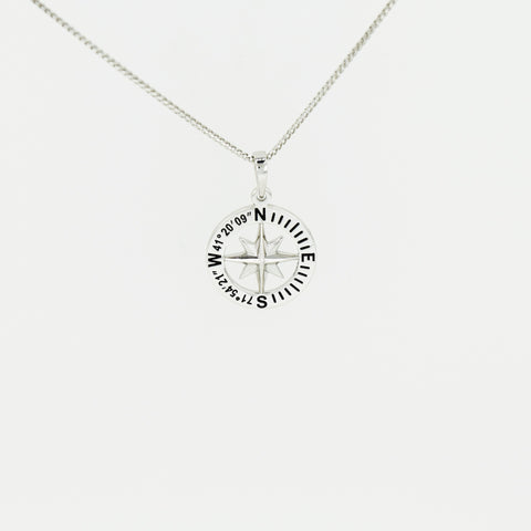 "Compass Rose Classic Women's 3/4"" Sterling Silver Pendant With Stonington, CT Coordinates"
