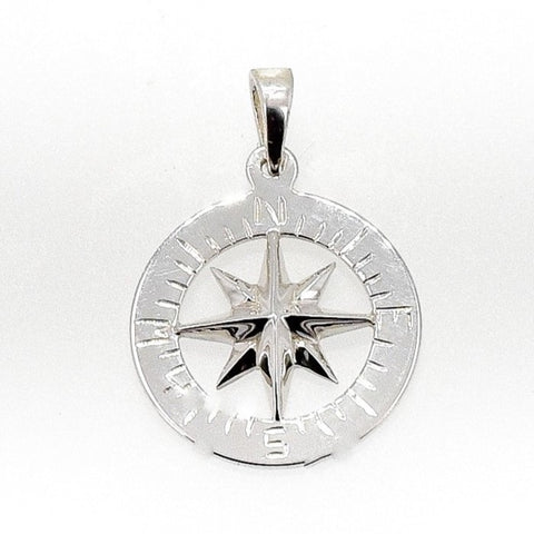 "Compass Rose Classic 3/4"" Women's Pendant Sterling Silver"