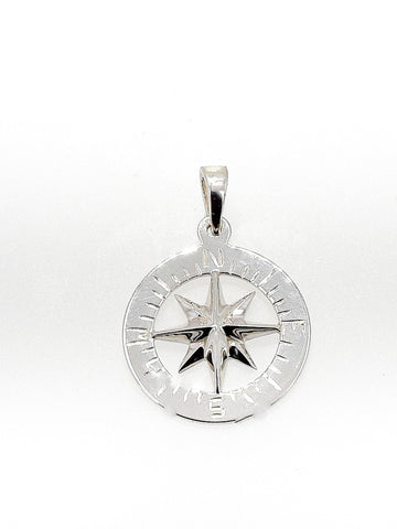 "Compass Rose Classic 3/4"" Men's Pendant Sterling Silver"