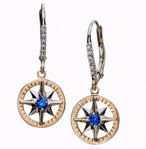 Compass Rose Classic Women's Medium on Frame 14K Two Tone Gold Sapphire and Diamond Lever-Back Dangle Earrings