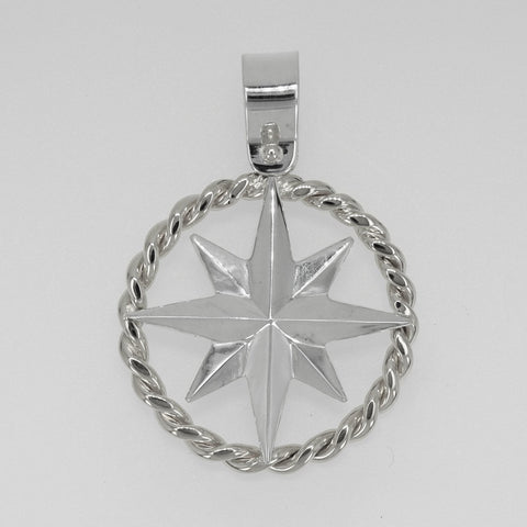 Compass Rose Rope Rim Men's Grande Sterling Silver Pendant with a Shackle Bail