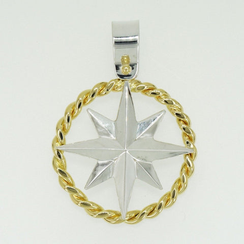 Compass Rose Rope Rim Women's XL 14K Two-Tone Gold Pendant with a Shackle Bail