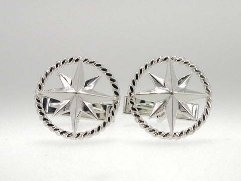 Compass Rose Rope Rim Cufflinks Sterling Silver
