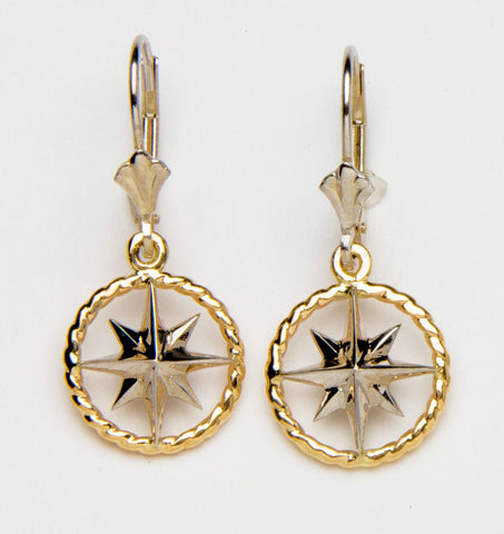 Compass Rose Rope RIm Women's Medium 14K Two-Tone Gold Lever-Back Dangle Earrings