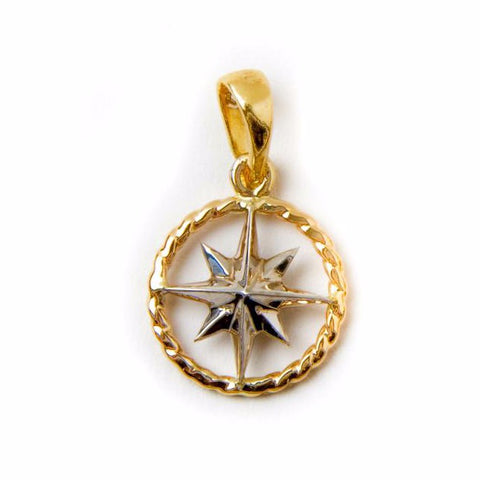 Compass Rose Rope Rim Women's Medium 14K Two-Tone Gold Pendant