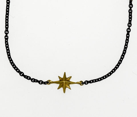 Compass Rose Women's Endless Stars Necklace With One 14K Gold 3D Star and a Black Stainless Steel Cable Link Chain