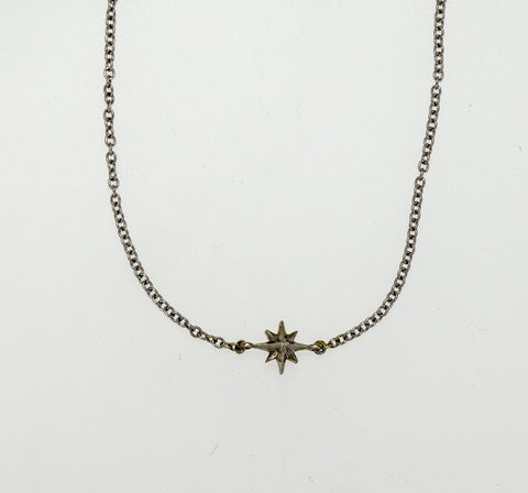 Compass Rose Women's Endless Stars Necklace with One 14K Gold 3D Star on 14K White Gold Cable Link Chain