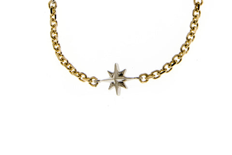 Compass Rose Women's Endless Stars Necklace with One 14K Gold 3D Star and a 14K Yellow Gold Cable Link Chain
