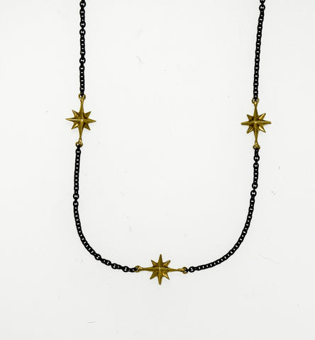 Compass Rose Women's Endless Stars Necklace With Three 14K Gold 3D Stars and a Black Stainless Steel Cable Link Chain
