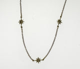 Compass Rose Women's Endless Stars Necklace With Three 14K Gold 3D Stars and a 14K White Gold Cable Link Chain