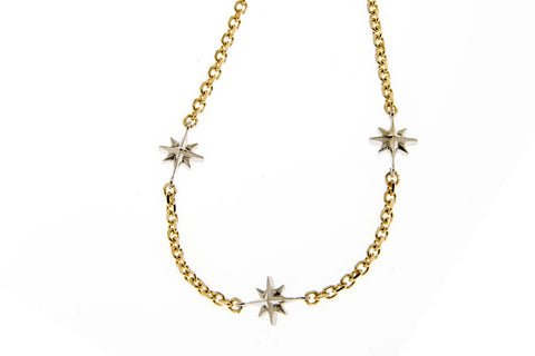 Compass Rose Women's 14K Endless Stars Necklace with Three Stars