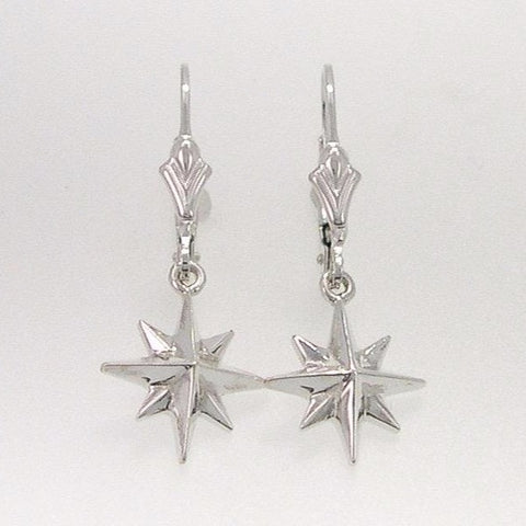 Compass Rose Womens Medium Sterling Silver Dangle Leverback Earrings