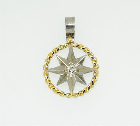 Compass Rose Rope Rim Women's Grande 14K Two-Tone Gold Pendant