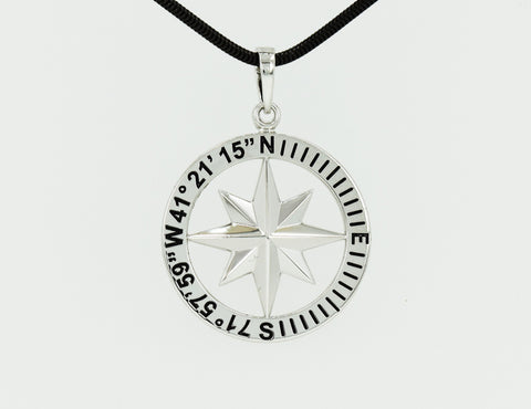 Compass Rose Classic Men's Grande Sterling Silver Pendant With Mystic, CT Coordinates