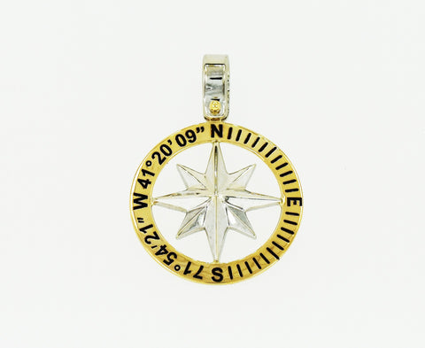 Compass Rose Classic Men's Grande 14K Two-Tone Gold Pendant With Custom Coordinates