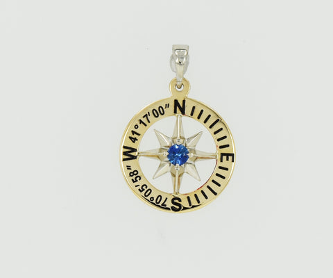 "Compass Rose Classic Women's 3/4"" 14K Two-Tone Gold Pendant With Nantucket, MA Coordinates"