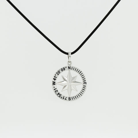 Compass Rose Classic Men's Grande Sterling Silver Pendant With Stonington, CT Coordinates