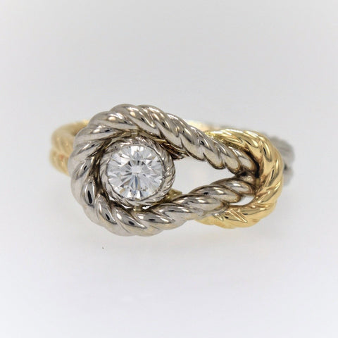 14K TwoTone1/2 carat Diamond Knot Ring