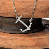 Horizontal Hanging Anchor Necklace in 14K