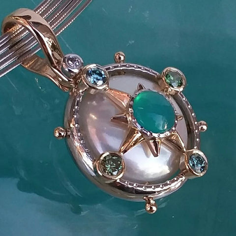 Platinum and Gold Caribbean Compass Pearl, Chrysocolla  and Sea-green Diamond Pendant