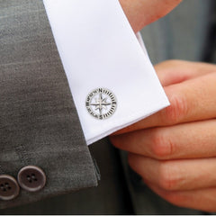 Compass Rose Coordinates Cufflinks
