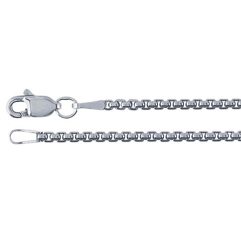Sterling Silver Oxidized Rounded Box-link Chain  1.7mm with Lobster Claw Clasp