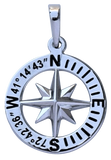 Guilford, Connecticut Compass Rose Coordinates Jewelry in Sterling Silver