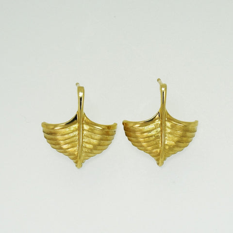 Wooden Boat Women's 14K Yellow Gold Post Earrings