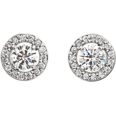 14K HALO-STYLE DIAMOND STUD EARRINGS