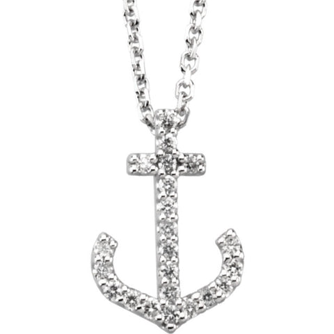 Petite 14K Diamond Anchor Slide Necklace .10tw