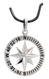 Compass Rose Classic Men's Grande Sterling Silver Pendant With Lancaster, PA Coordinates