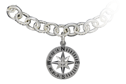 "Compass Rose Classic Women's 3/4"" Sterling Silver Charm With Lancaster, PA Coordinates"