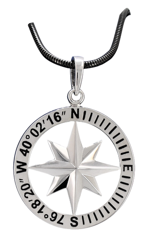 Compass Rose Classic Women's Grande Sterling Silver Pendant With Lancaster, PA Coordinates