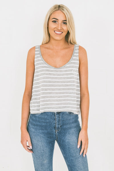 Chur Carina Flowy Tank Top - Athletic Heather / White