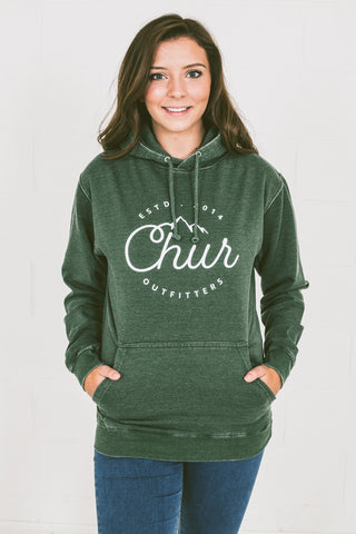 Chur Aosta Washed Hoodie - Forest Green