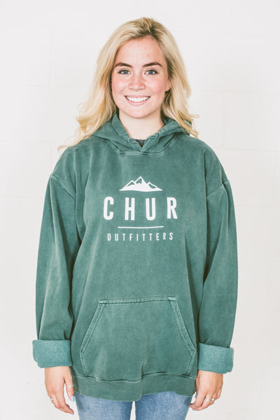 Ladies Oversized Chur Gaston Hoodie - Willow Green