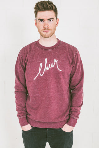 Chur Florey Washed Jumper - Heather Burgundy