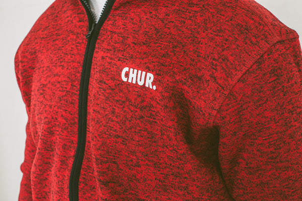 Chur Giralang Knit Fleece - Red / Black Fleck
