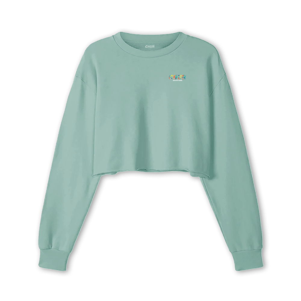 Chur Lamont  Fleece Crop Jumper - Dusty Blue