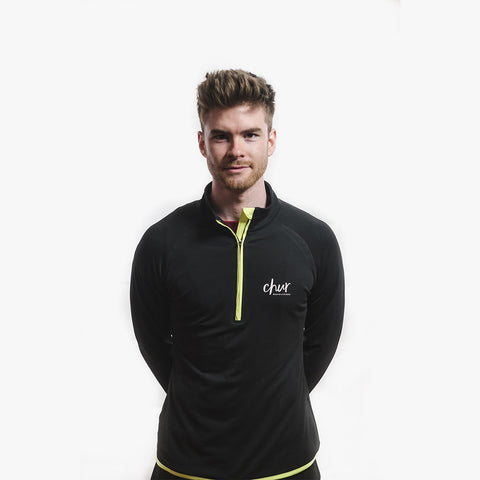 Chur Original 1/4 Zip Gym Top - Black / Yellow