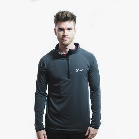 Chur Original 1/4 Zip Gym Top - Charcoal / Black