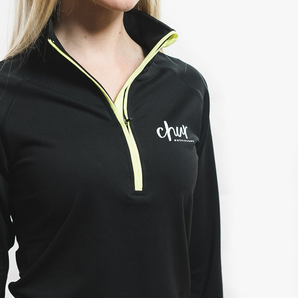 Womens Chur Original 1/4 Zip Gym Top - Black / Yellow