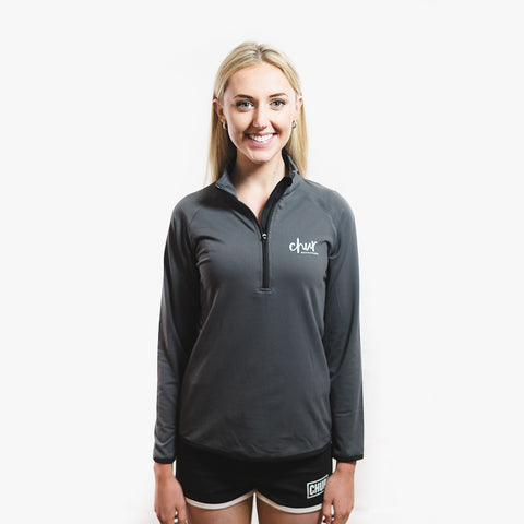 Womens Chur Original 1/4 Zip Gym Top - Charcoal / Black