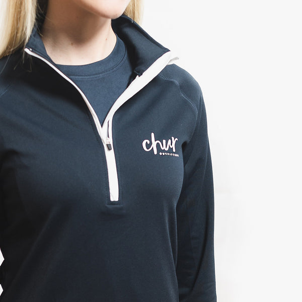 Womens Chur Original 1/4 Zip Gym Top - Navy
