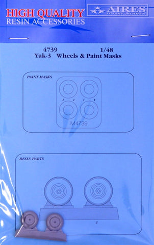 Aires 1/48 resin wheels and paint masks for Yak-3 - 4739